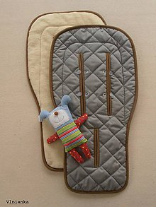 Textil - Ovčie rúno podložka do kočíka BUGABOO s ozdobným prešitím ELEGANT GREY Sivá /šedá bavlna - 8123440_