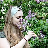 Ozdoby do vlasov - Šatka na hlavu ľanová zelenkavá / čelenka do vlasov - 8122124_