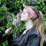 Ozdoby do vlasov - Šatka na hlavu ľanová staroružová / čelenka do vlasov - 8122132_