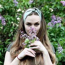 Ozdoby do vlasov - Šatka na hlavu ľanová zelenkavá / čelenka do vlasov - 8122125_