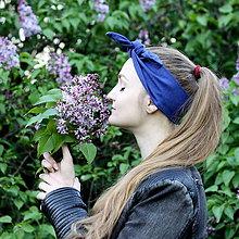 Ozdoby do vlasov - Šatka na hlavu ľanová parížska modrá / čelenka do vlasov - 8122127_