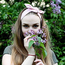 Ozdoby do vlasov - Šatka na hlavu ľanová púdrová ružová / čelenka do vlasov - 8122130_