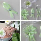 Sada bielo-zelených svadobných pierok
