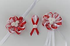 Pierka - Sada bielo-červených svadobných pierok - 8122038_