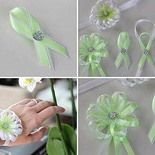 Pierka - Sada bielo-zelených svadobných pierok - 8121508_