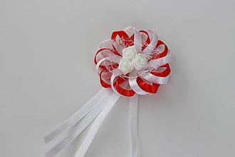 Pierka - Bielo-červené svadobné pierka pre otcov/starejšieho - 8121989_