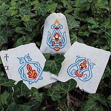 Úžitkový textil - Ľanové vrecúška, súprava Veľká Morava, modré - 8122866_