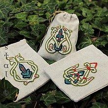 Úžitkový textil - Ľanové vrecúška, súprava Veľká Morava, zelené - 8122874_