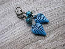 Náušnice - Modré srdiečka č.899 - 8123783_