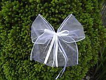 Dekorácie - Biele mašličky na kľučky áut - 8121183_