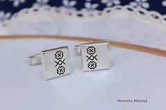 Šperky - Manžetové gombíky s folklórnym vzorom - Čičmany - 8123417_