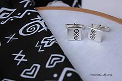 Šperky - Manžetové gombíky s folklórnym vzorom - Čičmany - 8123422_