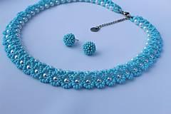 Náhrdelníky - náhrdelník nezábudkovomodrý - 8126017_