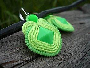 Náušnice - Soutache náušnice Fresh Green NEON - 8126872_