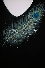 tričko ručne maľované - pávie pierko