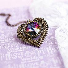 Náhrdelníky - náhrdelník MAXI SRDCE (Hnedá) - 8127655_