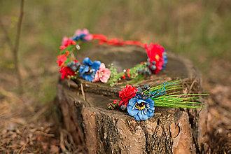 Ozdoby do vlasov - Asymetrický kvetinový venček s makom, klasom a bobuľami hrozna - 8125378_