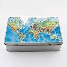 Krabičky - Plechová krabička podlhovastá mapa sveta 1 - 8127602_
