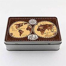 Krabičky - Plechová krabička podlhovastá mapa sveta hnedá 1 - 8127623_