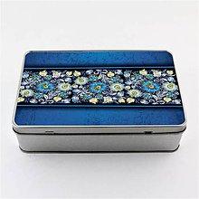 Krabičky - Plechová krabička podlhovastá modré kvety 5 - 8127649_