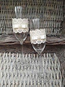 Nádoby - Nemotúzvé svadobné poháre Béžové - 8125221_