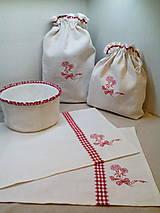 Úžitkový textil - Ľanová štóla s červenou kombináciou - 8125230_