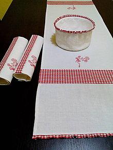 Úžitkový textil - Ľanová štóla s červenou kombináciou - 8125231_