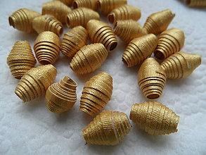 Materiál ručne robený - zlaté papierové korálky - 8126835_