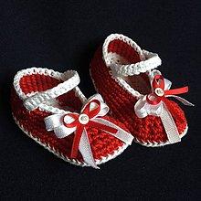 Topánočky - Háčkované papučky červené - 8125934_