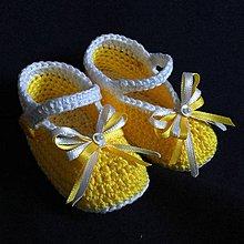 Topánočky - Háčkované papučky žlté - 8127610_