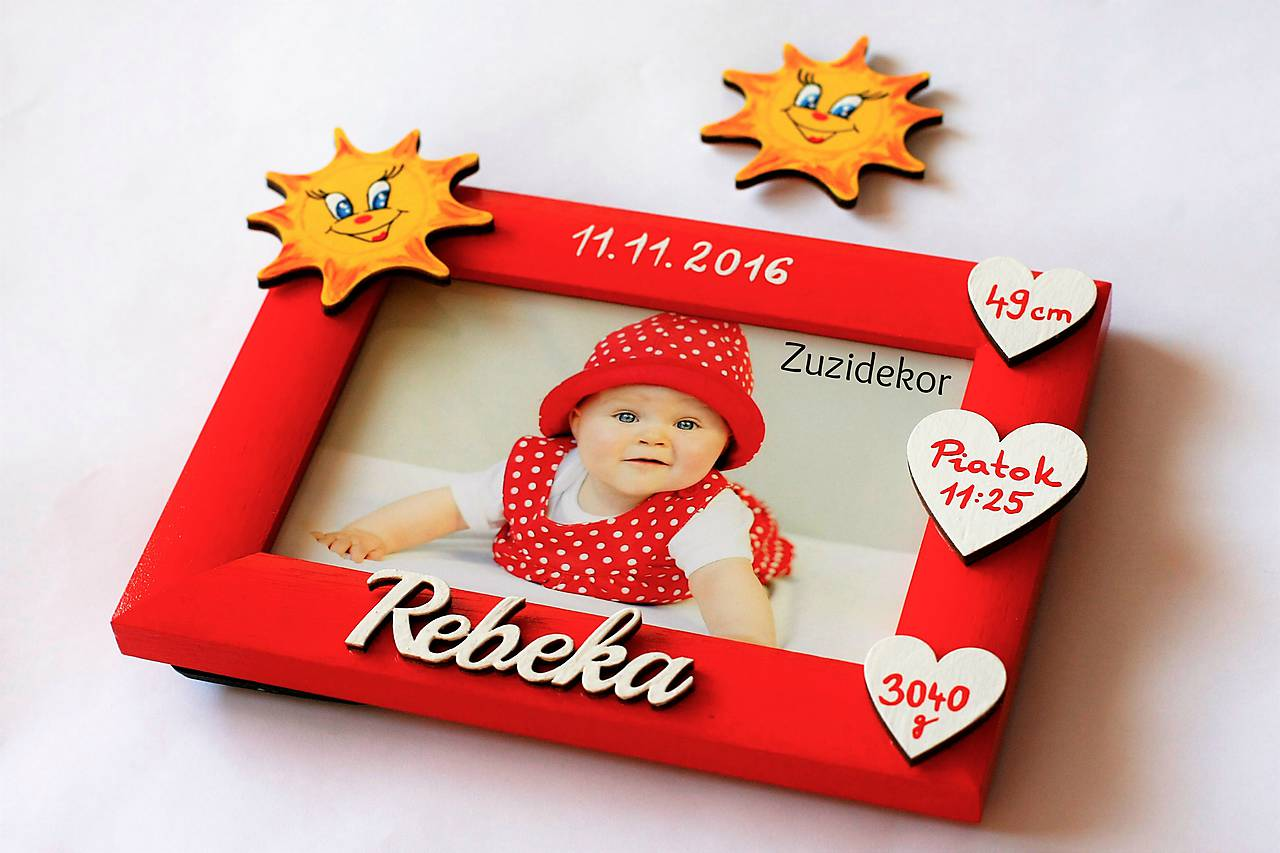 Fotorámik slniečkový s údajmi o narodení