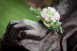 Náramky - náramek bílý květinový pompom - 8126014_