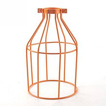 Iný materiál - Ručne vyrobené tienidlo vo forme klietky v oranžovej farbe - 8126478_