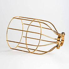 Svietidlá a sviečky - Ručne vyrobené tienidlo vo forme klietky v zlatej farbe - 8126496_
