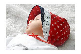 Detské čiapky - Baby čepiec červený-Folk - 8124986_