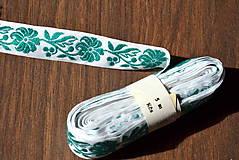 Galantéria - Retro stužka zelený kvet - 8131703_