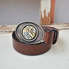 Opasky - Steampunkový pásek - kožený hnědý,oválná spona - 8131019_