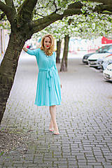 Šaty - Úpletové šaty BREA, aquamarinové - 8130391_