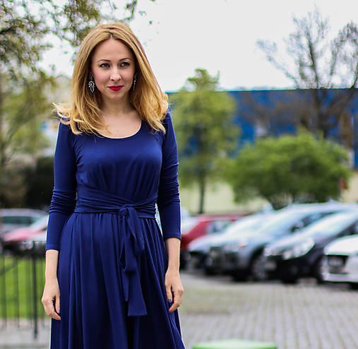 Šaty - Úpletové šaty BREA, i jako těhotenské, indigo modré - 8130710_