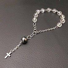Náramky - Rosary Stainless Steel Quartz and Hematite Bracelet / Ruženec na ruku s krištáľom a hematitom (chirurgická oceľ) /0585 - 8130632_