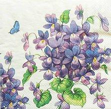 Papier - S967 - Servítky - fialky, violet, jar, kvet, motýľ, kvietky, kvetinky - 8128981_