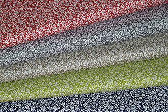 Textil - Látka Biele kvietočky  (Béžová) - 8130752_