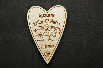 Darčeky pre svadobčanov - Darček pre svadobčanov grav. drevené srdce veľké - 8128504_
