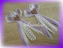 Svadobné pierko s čipkou fialové pre rodičov, svedkov