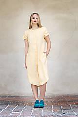 Šaty - Žluté lněné šaty - 8128592_