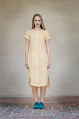 Šaty - Žluté lněné šaty - 8128595_