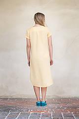 Šaty - Žluté lněné šaty - 8128596_