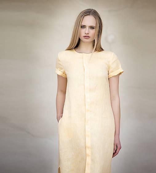 Žluté lněné šaty