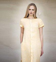 Šaty - Žluté lněné šaty - 8128640_