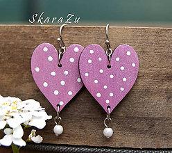 Náušnice - Heart dots // Pink - 8130869_